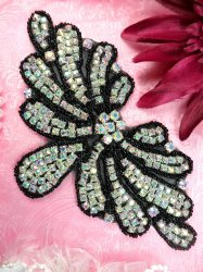 JB89 Black Beaded Black Backing Crystal Aurora Borealis Rhinestone Applique 6.5""