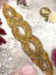 "JB9 Aurora Borealis Gold Beaded Rhinestone Applique 8.75"""