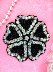JB99 Rhinestone Applique Crystal AB Black Beaded Flower Of Hearts 3""