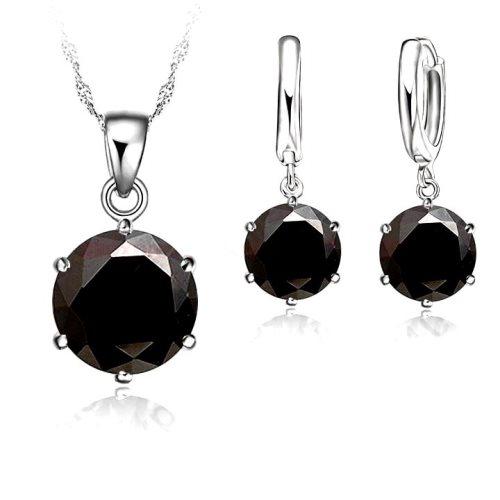 JW1 Black Necklace Earring Set 8mm Cubic Zircon Crystal 925 Sterling Silver Lever Back.