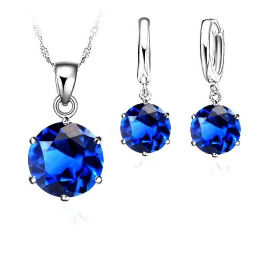 JW1 Blue Necklace Earring Set 8mm Cubic Zircon Crystal 925 Sterling Silver Lever Back.