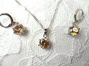Jewelry Set Necklace Earring Champagne Crystal 8mm Cubic Zircon 925 Sterling Silver Lever Back (JW1)