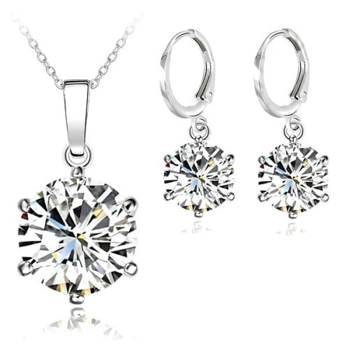 JW1 REDUCED Necklace Earring Set 8mm Cubic Zircon Crystal 925 Sterling Silver Lever Back.