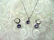 Jewelry Set Necklace Earring Lavender Crystal 8mm Cubic Zircon 925 Sterling Silver Lever Back (JW1)