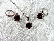 Jewelry Set Necklace Earring Red Crystal 8mm Cubic Zircon 925 Sterling Silver Lever Back (JW1)