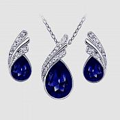 Necklace Earring Set Silver Crystal Rhinestone Sapphire Blue Tear Drop Jewelry Gift Set  (JW11)
