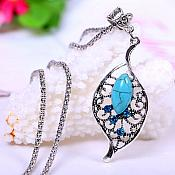 Leaf Necklace Silver Crystal Rhinestone Turquoise Dangle Jewelry  (JW13)