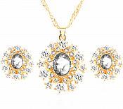 Jewelry Set Necklace Earring Clear Crystal Rhinestone Goldtone (JW14)
