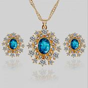 Jewelry Set Necklace Earring Turquoise Center Crystal Rhinestone Goldtone (JW14)