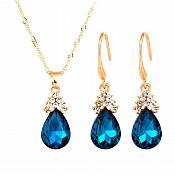 Teardrop Jewelry Set Necklace Earring Turquoise Crystal Rhinestone Goldtone (JW15)