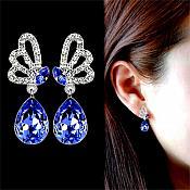 Earrings Silver Crystal Rhinestone Blue Tear Drop Dangle Jewelry  (JW16)
