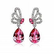 Earrings Silver Crystal Rhinestone Fuchsia Pink Tear Drop Dangle Jewelry  (JW16)