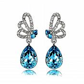 Earrings Silver Crystal Rhinestone Turquoise Tear Drop Dangle Jewelry  (JW16)