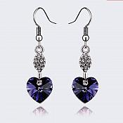 Earrings Silver Crystal Rhinestone Plum Purple Heart Dangle Jewelry  (JW17)