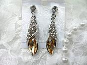 Earrings Silver Crystal Rhinestone Champagne Dangle Jewelry  (JW18)