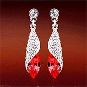 Earrings Silver Crystal Rhinestone Red Dangle Jewelry  (JW18)
