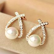 Pearl Rhinestone Earrings in Gold Setting Jewelry (JW23)