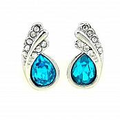 Silver Turquoise Austria Crystal Rhinestone Earrings Water Teardrop Jewelry (JW26)
