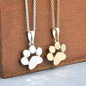 Silver Paw Costume Necklace Jewelry (JW28)