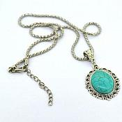 JW6 Turquoise Necklace Pendant Silver Metal Fashion Jewelry