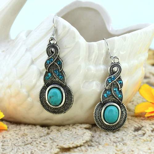 JW7 Rhinestone Turquoise Earrings Silver Metal Fashion Jewelry