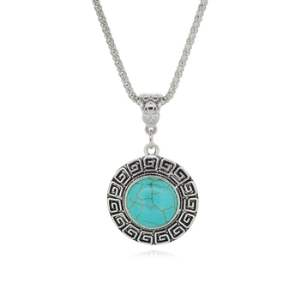 JW8 Rhinestone Turquoise Necklace Pendant Silver Metal Fashion Jewelry