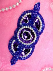 K1236 Purple  Applique Sequin Pearl Beaded 5.25""