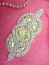 K1236 White Applique Crystal AB Pearl Sequin Beaded 5.25""