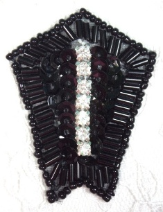 "0482 Black Rhinestone 2.25"" Sequin Beaded Applique"
