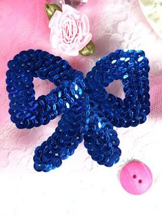 K8140SB Royal Blue Bow Sequin Applique 3""