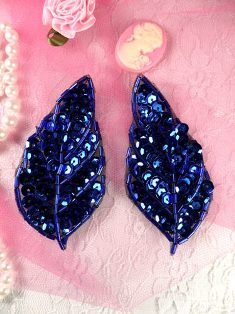 K8269 Royal Blue Leaf Pair Sequin Beaded Appliques 3.25""