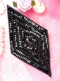 K8385  Black Diamond Beaded Sequin Applique 5.5""