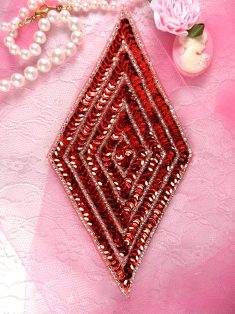 K8385 Red Silver  Diamond Beaded Sequin Applique 5.5""