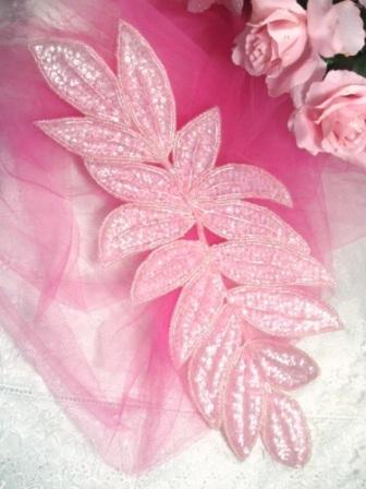 """K8741  Pink Crystal Ab Leaf Cluster Sequin Beaded Applique 15"""""""