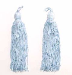 E1046 Set of 2 Light Blue Tassels 5.75""