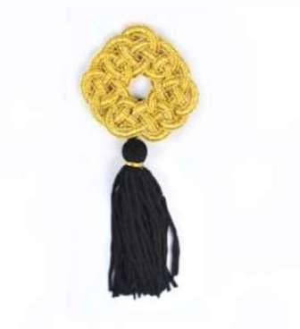 E1048  Metallic Gold Black Tassel