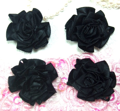 L22  Lot of 4 Black / Black Floral Rose Flower Appliques 1.5""