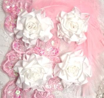 L22  Lot of 4 White / White Floral Rose Flower Appliques 1.5""