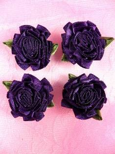L22  Lot of 4 Dark Purple Floral Rose Flower Appliques 1.5""