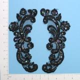 """Black Iris Venise Lace 8"""" Sequin Appliques  E249"""