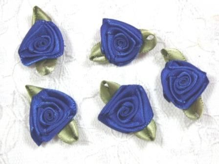 L27 Set of 5 Royal Blue Green Ribbon Rose Appliques