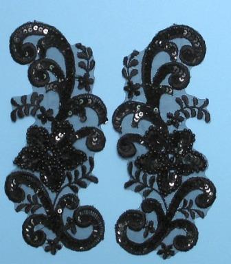 E2716  Black AB Aurora Borealis Venise Lace Mirror Pair Sequin Appliques