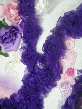 L28  Purple Organza Floral Sewing Trim 2.5""