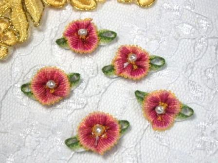 L40 Set of 5  Peach Ombre Rose Pearl Orchid Applique