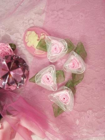L53  Set of ( 4 ) Pink Ribbon Roses 1.5""