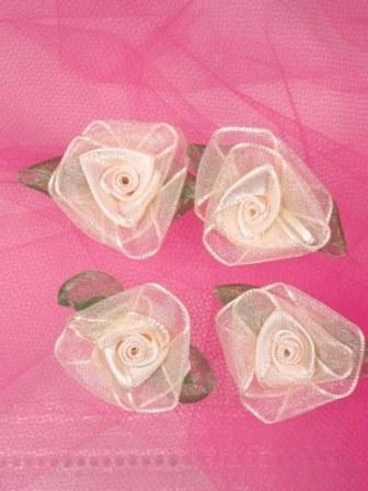 L53  Set of ( 4 ) Ivory & Green Ribbon Roses 1.5""