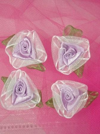 L53  Set of ( 4 ) Lavender Ribbon Roses 1.5""