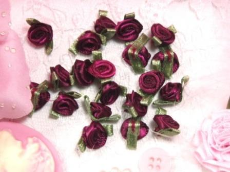 L7K  Set of (20) Burgundy Wine Green Ribbon Rose Appliques