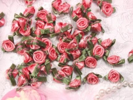 L7K  Set of (20) Rose Green Ribbon Rose Appliques