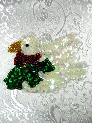 LC1530 Dove Multicolored Holiday Beaded Sequin Applique 3""